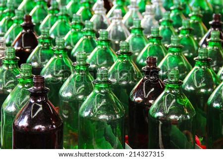 Large green bottles - stock photo
