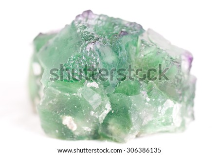 large green fluorite cubic crystal mineral sample - stock photo