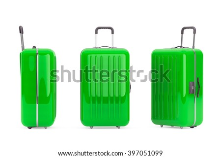 Large Green Polycarbonate Suitcases on a white background