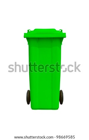 Large green trash can (garbage bin) with wheel, isolated on white background - stock photo