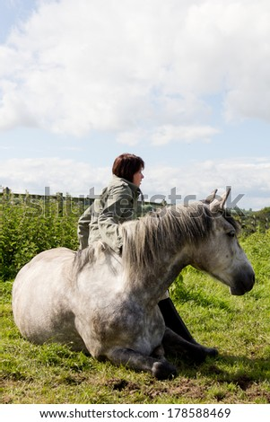 Large grey horse lying in field looking into distance with pretty young woman resting ,leaning on the horses side, showing total trust between animal and human. - stock photo
