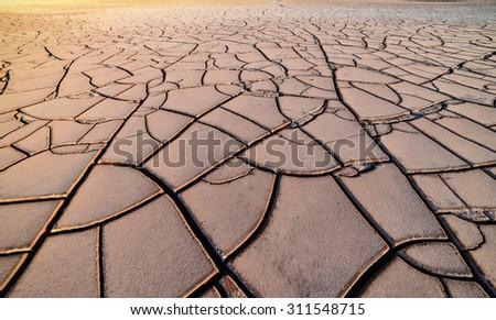 large ground cracks - stock photo