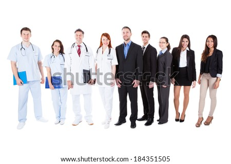 Large ground of doctors and managers over white background - stock photo