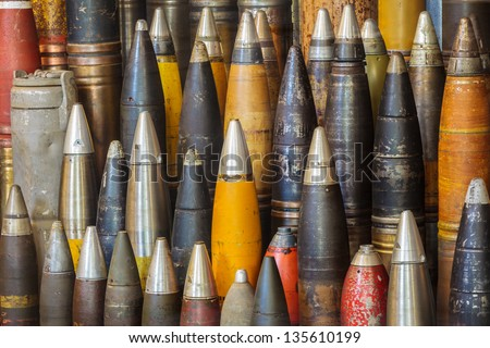 Large group of antique world war two bombs - stock photo