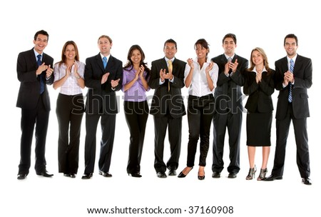 Large group of business people applauding isolated - stock photo