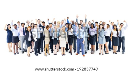 Large Group of Business People Celebrating - stock photo