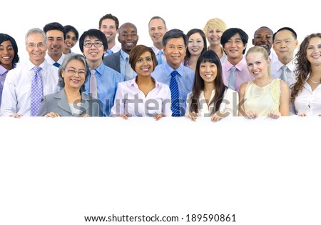 Large Group of Business People Holding Board - stock photo