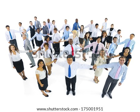 Large Group of Business People Holding Hand - stock photo
