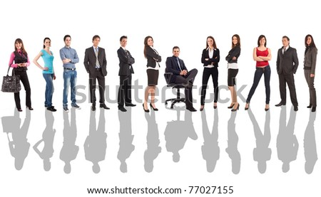 Large group of business people isolated on white - stock photo