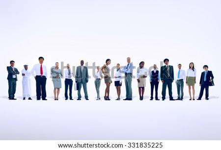 Large group of Business people Standing Communication Concept - stock photo