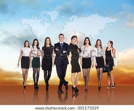 Large group of business people standing in line - stock photo