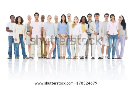 Large Group of Casual and Diverse World People - stock photo
