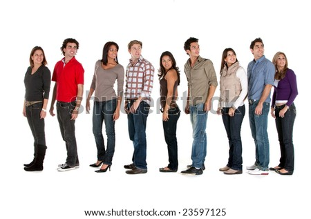 Large group of casual people looking back - isolated - stock photo