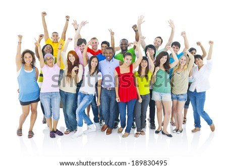 Large group of cheerful people - stock photo