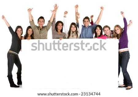Large group of cheerful people holding a banner add isolated - stock photo