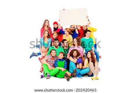 Large group of cheerful young people. Isolated over white.