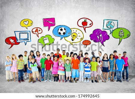 Large Group of Children - stock photo
