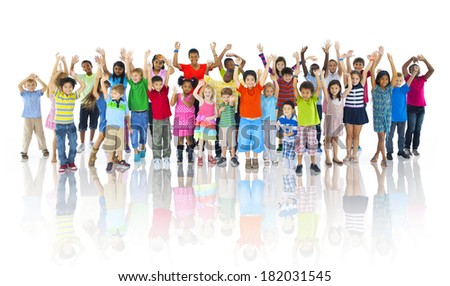 Large Group of Children Celebrating - stock photo