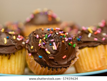 large group of chocolate frosted cupcakes on a plate closeup tight crop - stock photo