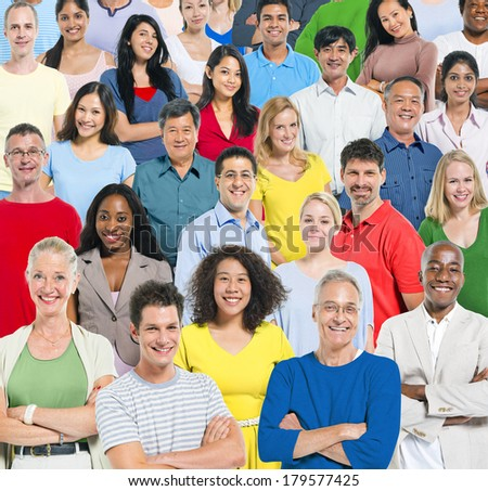 Large Group of Colorful Multi-ethnic World People
