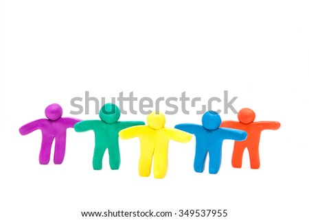 Large group of colourful plasticine human on the white.