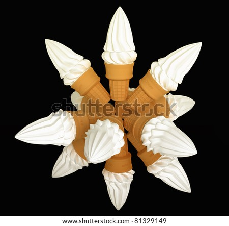 Large group of cone ice cream isolated on black - stock photo