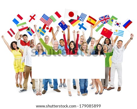 Large Group of Diverse Cheerful Multi-ethnic People Celebrating whit Flags Placard - stock photo
