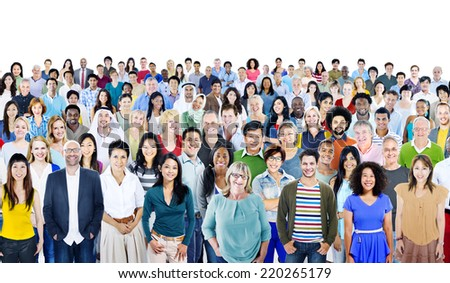 Large Group of Diverse Multiethnic Cheerful People - stock photo