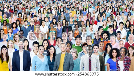 Large Group of Diverse Multiethnic Cheerful People Concept - stock photo