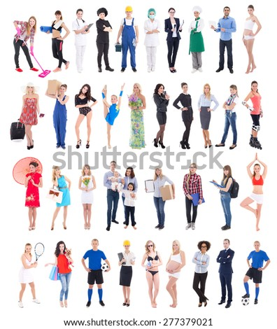 large group of diverse people isolated on white background - stock photo