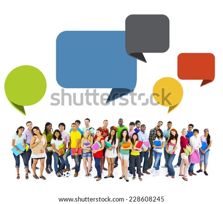 Large group of diversed students - stock photo