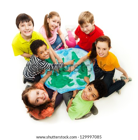 Large group of diversity looking teen kids, boys and girls pointing places where they are from with finger - stock photo