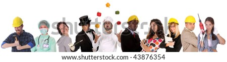 Large group of diversity workers people on  white background
