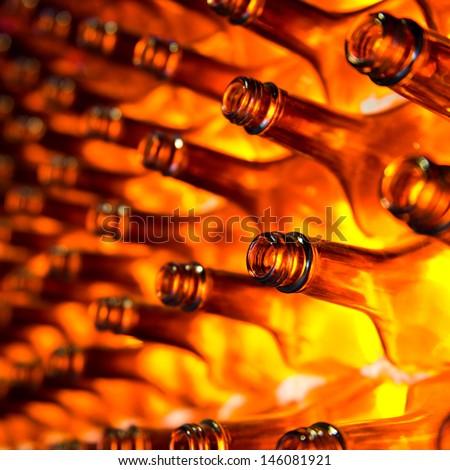 Large group of empty bottles. - stock photo