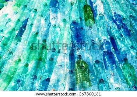 large group of empty plastic bottles - stock photo