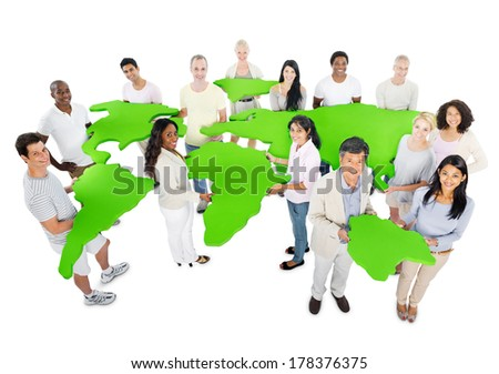 Large Group of Environmental Conscious People - stock photo