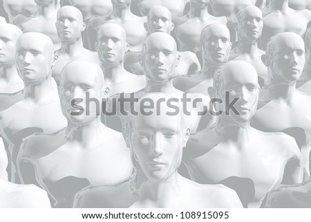 Large group of equal people - stock photo