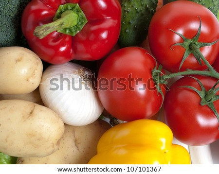 Large group of fresh vegetables