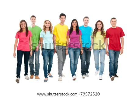 Large group of friends walking together and looking at their future isolated on white background - stock photo