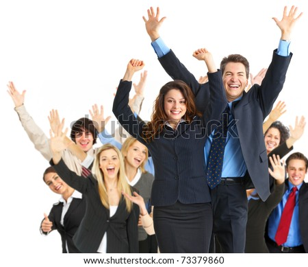 Large group of happy business people. Success. - stock photo