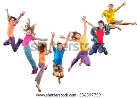 Large group of happy cheerful sportive children jumping and dancing. Isolated over white background. Childhood, freedom, happiness concept. - stock photo