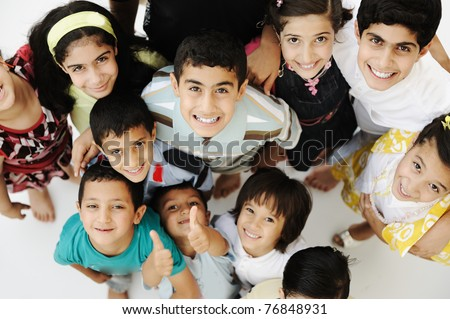 Large group of happy children, different ages and races, crowd - stock photo