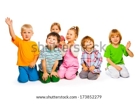 Large group of happy little kids isolated on white