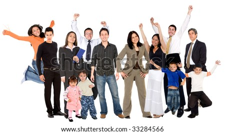large group of happy people isolated over white