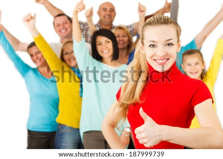 Large Group of Happy People smiling with thumbs up. - stock photo