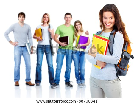 Large group of happy students. Isolated over white background