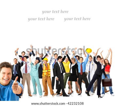 Large group of happy workers people. Over white background - stock photo