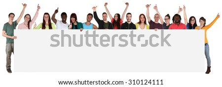 Large group of happy young multi ethnic people holding empty banner with copyspace - stock photo