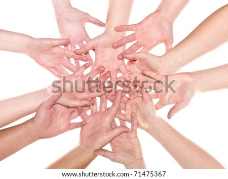 Large group of human hands isolated on white background