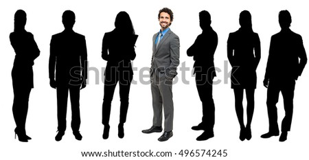 Large group of impersonal people full length and businessman